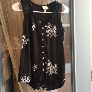 Knox Rose Embroidered Blouse Size XS Black White